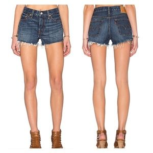 Levi's High Waisted Button Fly Raw Hem Short